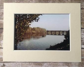 River Tyne Green Hexham Bridge Mounted Photograph Picture Northumberland 6x4 Photo North East England Mount Photography Ivory Black Gift