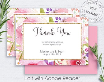 Botanical Printable Thank You, Greeting Cards, Floral Thank You, Invitation, Wedding, Gold Glitter, Editable, Whimsical