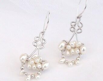 Pearl Earrings , Elegant Pearl Earrings , Cultured Freshwater Pearl Earrings , Sterling Silver Pearl earrings
