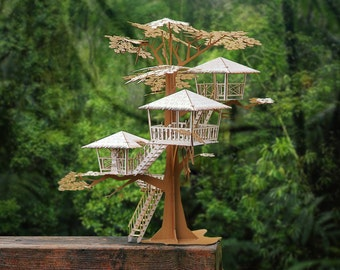 "Super Deluxe Tiki Tree House Model Kit 17"" Tall, Laser Cut Parts, A Unique Gift, Architectural Design"