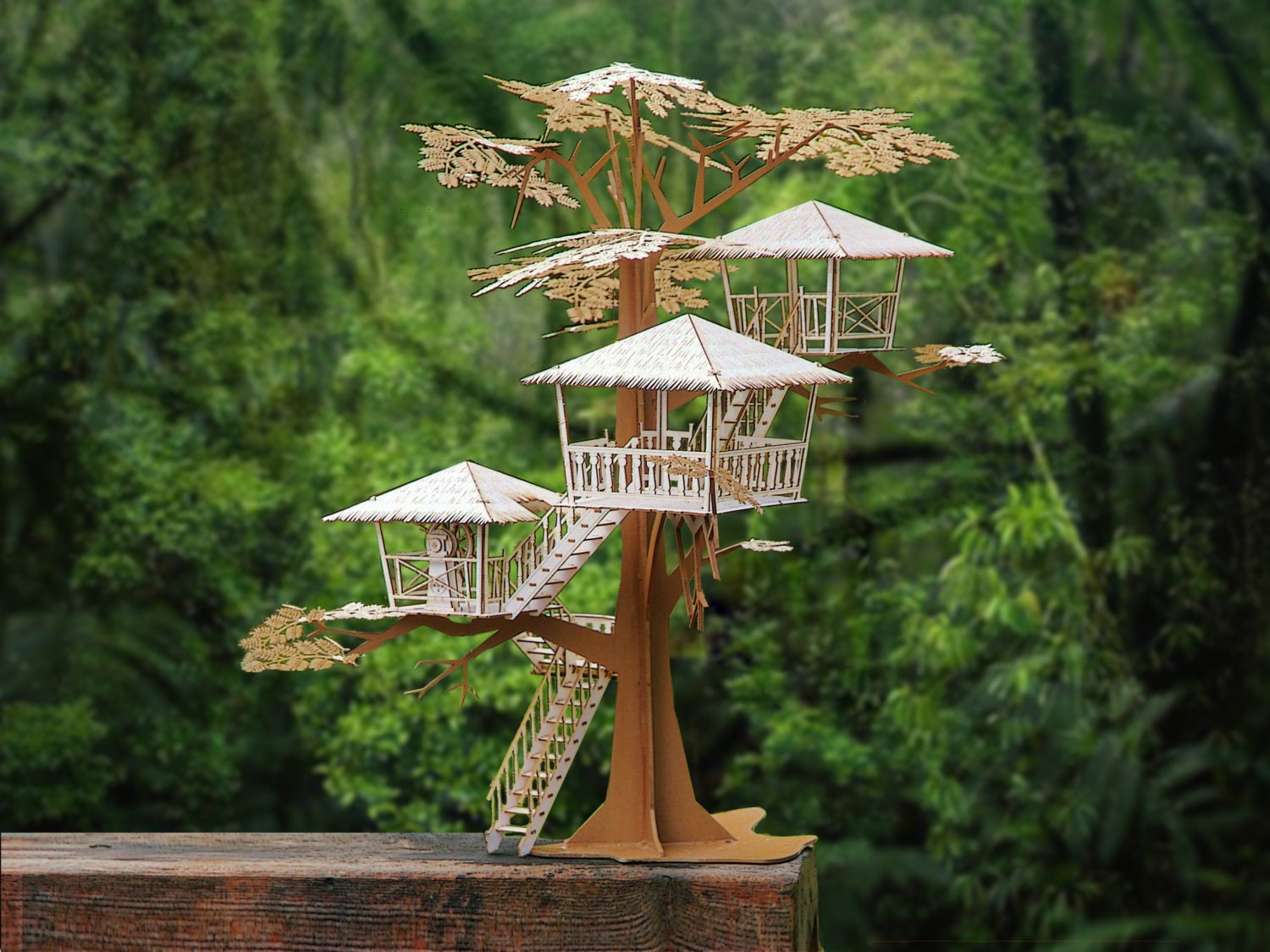 Super Deluxe Tiki Tree House Model Kit 17 Tall Laser