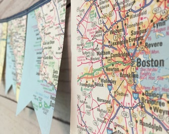 Map banner etsy map page banner atlas banner travel themed party decor travel map wall hanging gumiabroncs Image collections