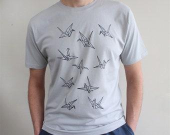 Mens Organic Tee - Grey Origami Paper Cranes T-Shirt