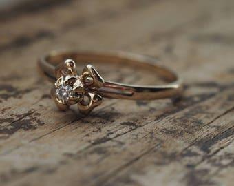 Size 7 Ring, 10K Vintage Diamond Ring, Flower Diamond Ring, Diamond Ring, Vintage Engagement Ring, Gold Ring