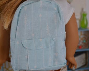 18 inch Doll Clothes - BACKPACK - Light Arrows - AQUA WHITE - for boy or girl doll - fits American Girl