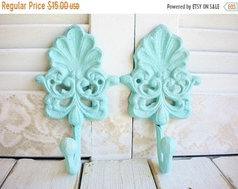 Sale Shabby Beach Wall Hook In Aqua Robins Blue Price For 1, Cast Iron Hook With Shell Motif, Handpainted Shabby Chic Decor