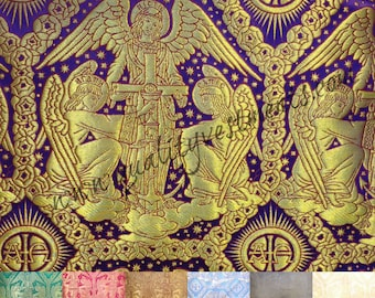 "Church Liturgical Metallic Greek Brocade ""Trinity Angels""  variety of colors"