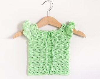 CROCHET PATTERN - Crochet Baby Sweater Lime Cupcake - Baby Cardigan - PDF