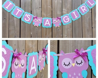 IT'S A GIRL Owl banner, purple blue owl banner, owl baby shower banner, baby shower decoration, gender reveal