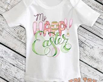 My Happy Easter Bodysuit, Easter Egg, Pink Easter Egg Outfit, Easter Bunny for Babies, Toddlers, One Piece