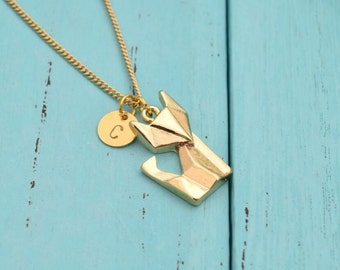 personalized necklace hand stamped fox initial necklace dainty delicate gold monogram necklace bridesmaid necklace