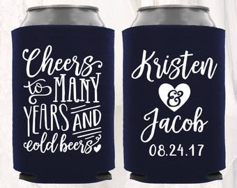 Personalized Wedding Can Cooler | Cheers to Many Years & Cold Beers | Customized Wedding Favors | Beverage Insulators, Beer Huggers