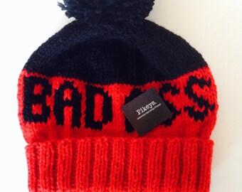MATURE Red and Black Pom Pom Beanie, Bad Ass Beanie, Ski Hat, Snowboard Beanie, Unisex Winter Hat, Handknit Hat