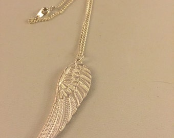 Angel wing silver plated necklace