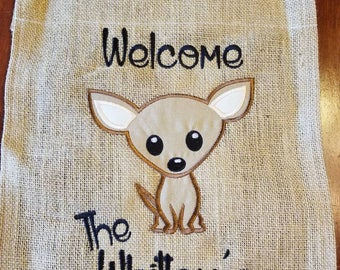 Chihuahua  Welcome personalized small garden flag