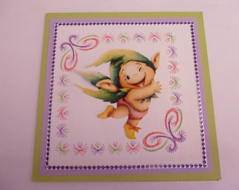 """2018124 embroidered card """"funny little troll"""""""