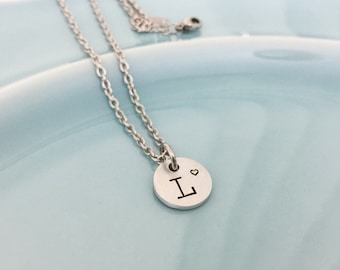 Initial Necklace - Hand Stamped Necklace -Monogram Necklace - Minimal Jewelry - Mother's Day Gifts - Stamped Initial Jewelry - Monogram Name