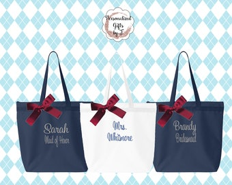 Personalized, Zippered Tote Bag Set of 2, Embroidered Beach Bag, Custom  Monogrammed Tote Bag, Personalize Bridal Party Tote