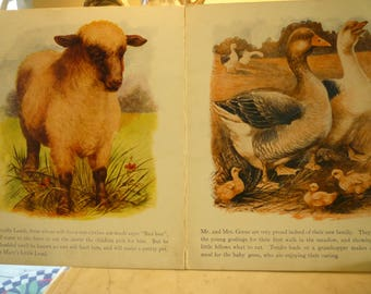 """On The Farm No.  868 ~ Sam'l Gabriel & Sons Co, 1923. """"Linenette""""  Pictorial covers and six full page color illustrations."""