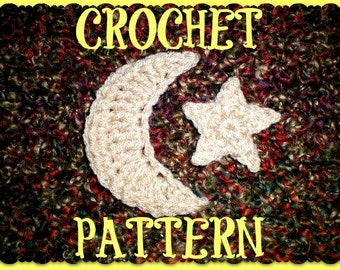 CROCHET PATTERN ONLY - Crescent Moon & Star Appliques