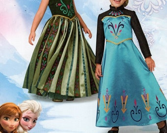 FREE US SHIP Sewing Pattern Simplicity 1222 Girls Halloween Costume Princess Frozen Fever Elsa Anna dress Size 3-8 Uncut Size 3 4 5 6 7 8