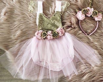 Pink Unicorn Birthday Dress - Unicorn Party Dress - First Birthday Dress - Baby Girl 1st Birthday Dress - Second Birthday - Unicorn Romper