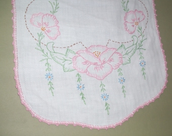 """Embroidered Dresser Scarf Runner White with Pink Flowers 35"""" long Vintage Runners"""