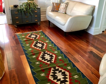 "Kilim Runner 30.5"" x 94"". Long wool Runner. Kilim Rug.  Woven Anatolia Area Rug.Green, Blue and Red. Wool Boho Runner. 