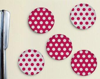 Polka Dot Magnets - Dots, Pattern, Magenta, Office, Organization, Home Office, Refrigerator, Fridge, Kitchen, Organize, Gift, Pattern