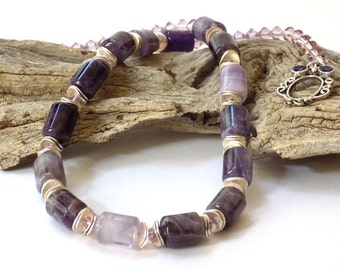 Necklace for Women Gemstone Necklace Chunky Necklace Statement Dangle Earrings Short Necklace Stone Jewelry Set Gemstone Jewelry Amethyst