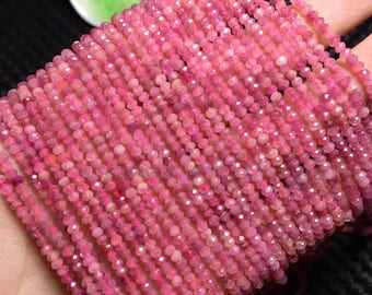 "15.5"" inch Pink Faceted Rondelle Tourmaline  Beads, Natural  Tourmaline  Beads, 2mm 3mm  DIY Jewelry"