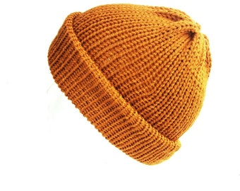 Mustard yellow beanie hat trawler beanie wool hat women hats women fisherman beanie gift for her mens beanie knitted hat dad hat womens hats