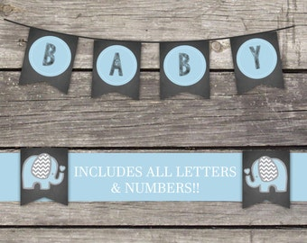 Blue Elephant Baby Shower Bunting Banner - Chalkboard Baby Shower Banner - Baby Shower Games - Elephant Baby Shower Baby-102
