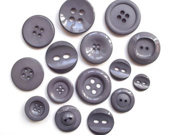 Mix of 15 buttons round acrylic mouse gray