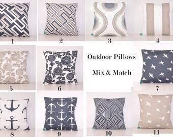 Outdoor Pillow Covers - Charcoal and Tan PILLOW - Lumbar - Various Sizes - Grey Pillow Cover - Accent Pillow - 20x20,18x18,22x22