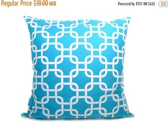 15% Off Sale pillows Aqua Blue pillow Pillow covers Blue Pillow Chain.Lattice.Decorative Throw Pillows.Printed Fabric both sides light blue