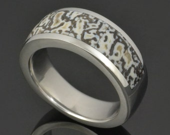 Dinosaur Bone Ring In Stainless Steel with Black and White Dinosaur Bone, Dinosaur Bone Wedding Ring