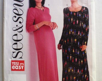 SALE - Misses/Misses Petite Easy Pullover Dress Sewing Pattern - Butterick 3628 - Sizes 14-16-18, Bust 36 - 40