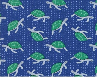 Turtle Fabric - Ahoy - Gingiber for Moda Fabrics - 48242 13 Blue / Green - Priced by the half yard