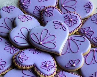 Violet Hearts Decorated Sugar Cookies