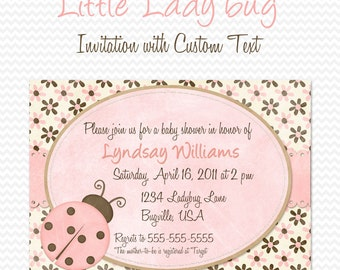 Pink Ladybug Baby Shower Invitation, Birthday Party Invite, Shabby Pink and Brown -- Printable File