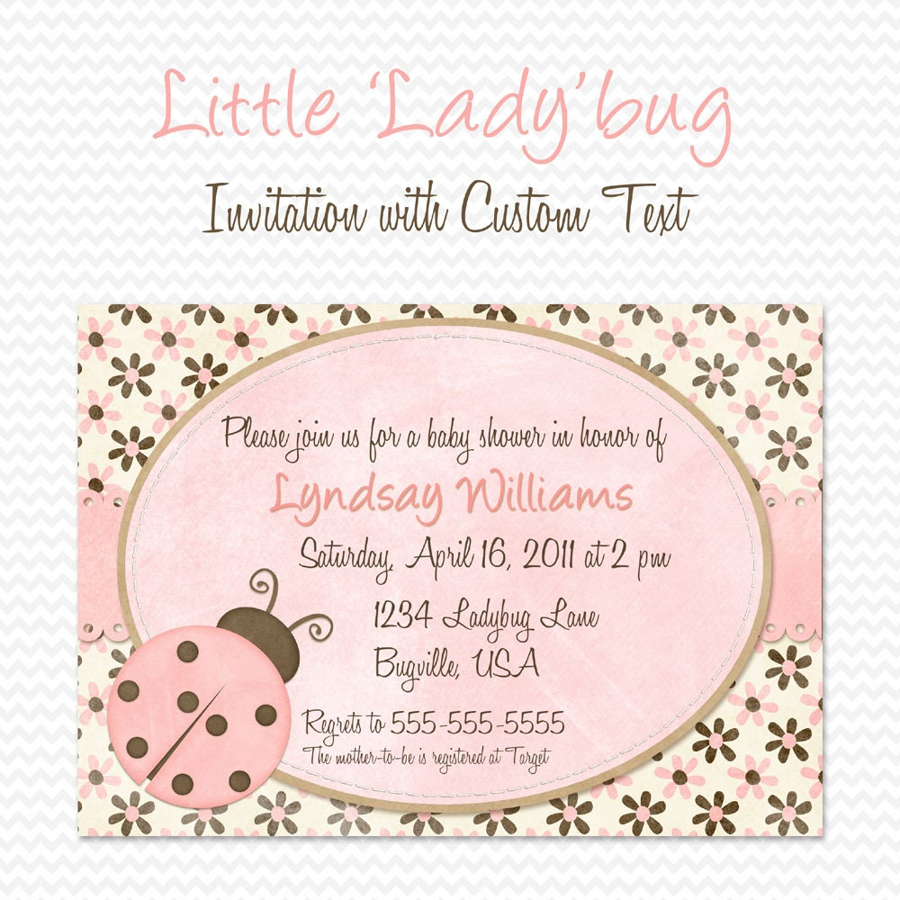 Pink Ladybug Baby Shower Invitation Birthday Party Invite
