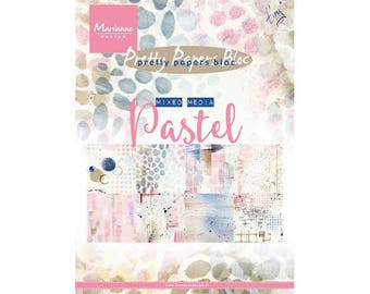 Pad of paper printed scrapbooking, mixed media pastel MARIANNE DESIGN - size 15 x 21 cm