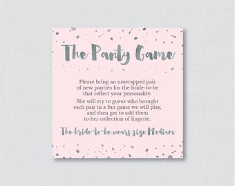 Pink and Silver Panty Game - Printable Pink Lingerie Shower Panty Game Cards AND Sign - Lingerie Shower Game, Bachelorette Party Game 0010-K