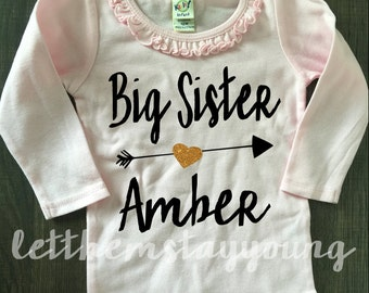 Custom Big Sister Shirt Little Sister Shirt Pregnancy Announcement Shirt Sibling Shirts Sister Shirt Baby Announcement Gold Glitter shirt