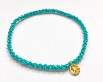 Vissudha (throat chakra) golden peace yoga charm anklet