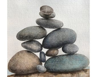 Sea stones mixed media painting - watercolor & colored pencil drawing,wall decor,stone home decor