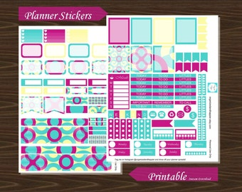 Weekly Planner Kit Spread Layout Stickers Erin Condren Planner Printable PDF Instant Download Circles #P015