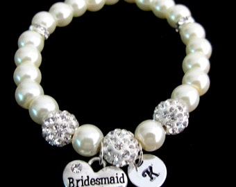 Bridesmaid Pearl Bracelet,Personalized bridesmaid bracelet bridesmaid gift, Initial bracelet,wedding gift Paveball bracele Free shipping USA
