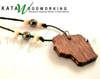 Handmade Wood Wisconsin Necklace - FREE SHIPPING